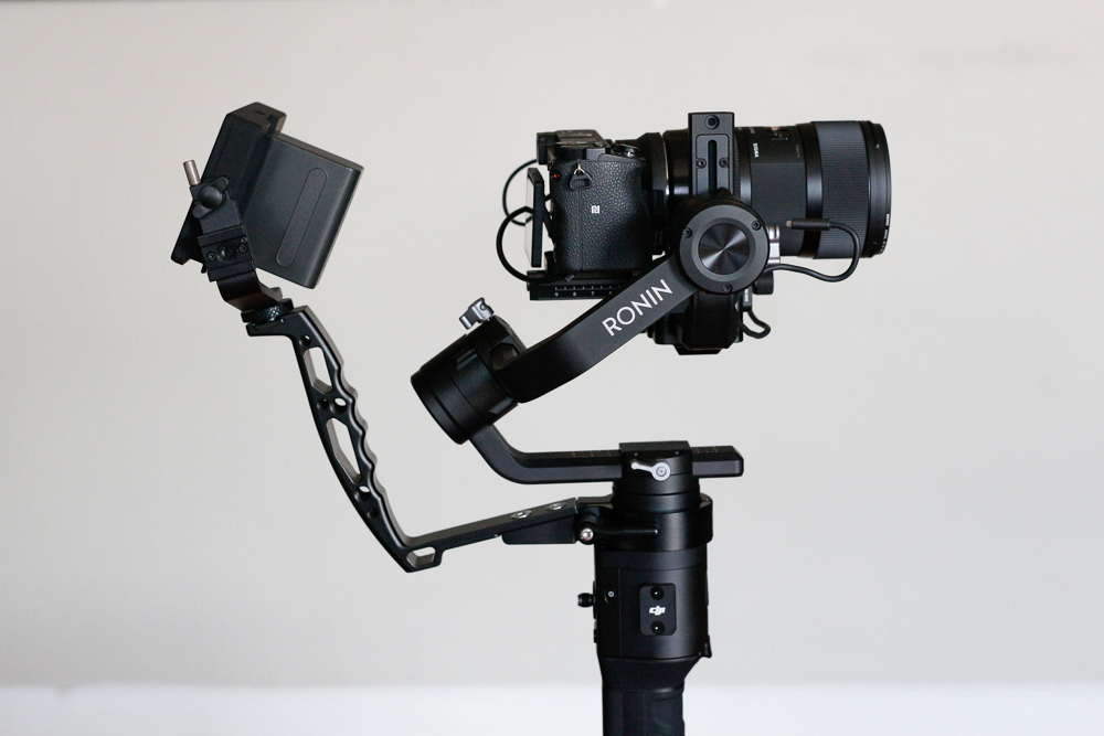 Ronin-S carrying a Sony a6500 with Sigma 18-35mm lens & Handy Grip Sling with SmallHD Focus Monitor